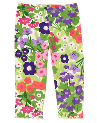 Toddler Girls Fern Green Floral Floral Legging by Gymboree