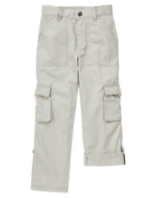 Steel Grey Roll Cuff Cargo Pant by Gymboree