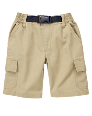 Boys Khaki Belted Ripstop Cargo Short by Gymboree