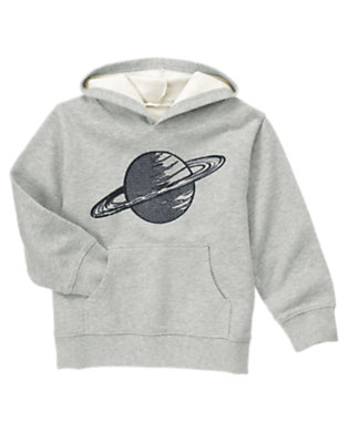 Boys Heather Grey Planet Fleece Hoodie by Gymboree