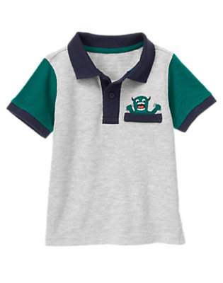 Heather Grey Space Monster Pique Polo Shirt by Gymboree