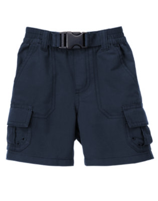 Spaceship Navy Pull-On Belted Cargo Short by Gymboree