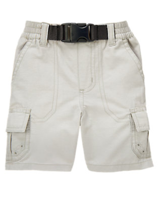 Steel Grey Pull-On Belted Cargo Short by Gymboree