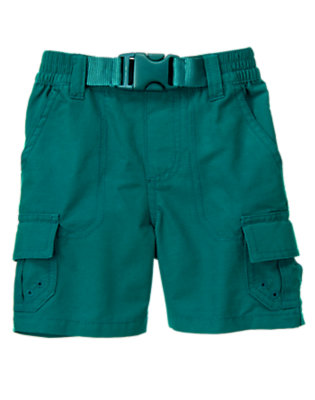 Galaxy Green Pull-On Belted Cargo Short by Gymboree