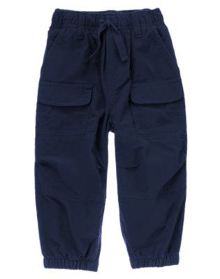 Spaceship Navy Jersey Lined Cargo Active Pant by Gymboree