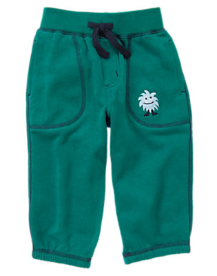 Galaxy Green Space Monster Fleece Pant by Gymboree