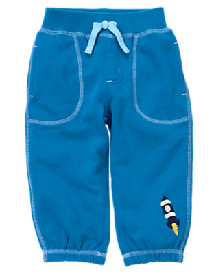 Asteroid Blue Spaceship Fleece Pant by Gymboree