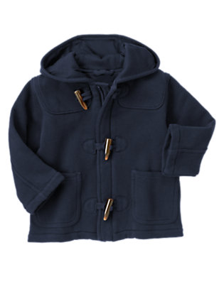Toddler Boys Spaceship Navy Toggle Hooded Fleece Jacket by Gymboree