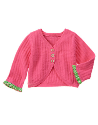 Baby Bright Watermelon Pink Dot Ruffle Sweater Cardigan by Gymboree