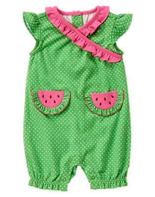 Summer Green Dot Watermelon Pocket Dot One-Piece by Gymboree