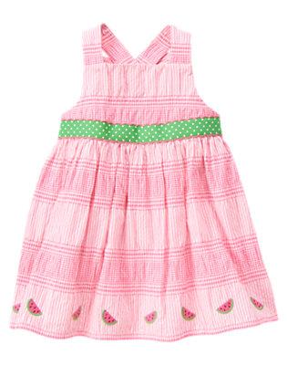 Watermelon Pink Stripe Watermelon Seersucker Dress by Gymboree