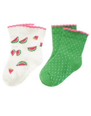 Baby Summer Green Dot Watermelon Dot Sock Two-Pack by Gymboree