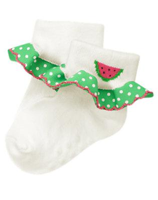 Baby White Watermelon Dot Ruffle Sock by Gymboree
