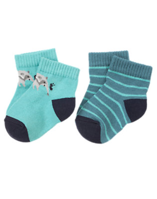 Baby Shadow Blue Stripe Anteater Stripe Sock Two-Pack by Gymboree
