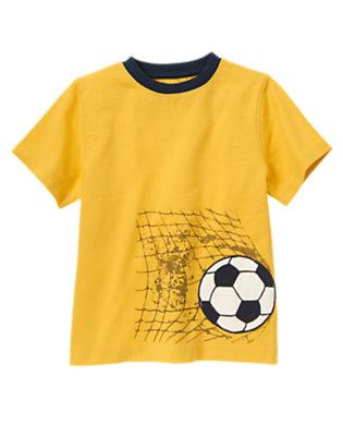 Boys Mustard Yellow Soccer Goal Tee by Gymboree