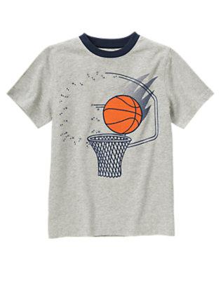 Boys Heather Grey Basketball Hoop Tee by Gymboree