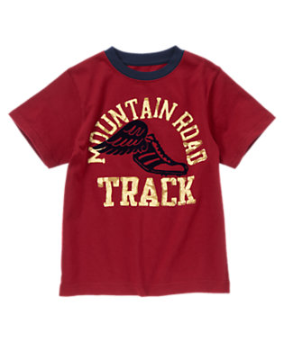 Boys Dark Red Mountain Road Track Tee by Gymboree