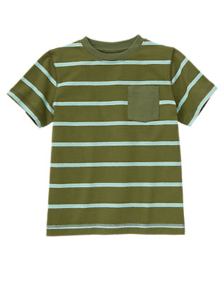 Boys Olive Green Stripe Always Soft Stripe Pocket Tee by Gymboree