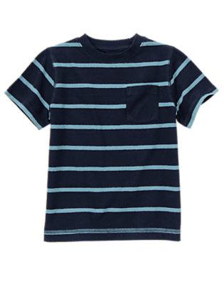 Boys Spaceship Navy Stripe Always Soft Stripe Pocket Tee by Gymboree