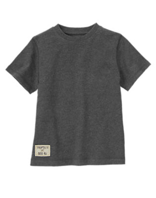 Boys Charcoal Heather Logo Patch Tee by Gymboree