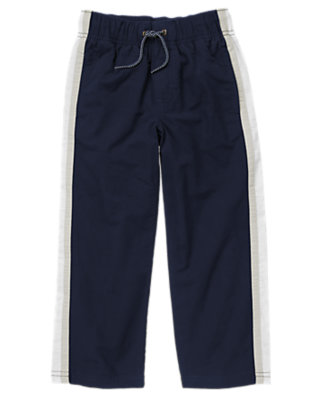 Boys Gym Navy Athletic Stripe Jersey Lined Pant by Gymboree