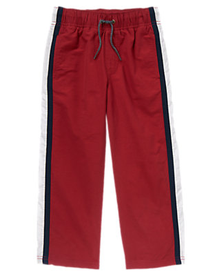 Boys Dark Red Athletic Stripe Jersey Lined Pant by Gymboree