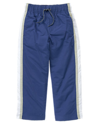 Boys Asteroid Blue Athletic Stripe Jersey Lined Pant by Gymboree