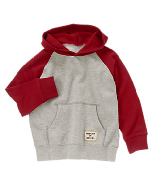 Boys Dark Red Raglan Fleece Hoodie by Gymboree