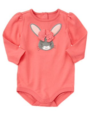 Bright Coral Bow Bunny Bodysuit by Gymboree