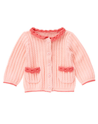 Baby Precious Pink Crochet Sweater Cardigan by Gymboree