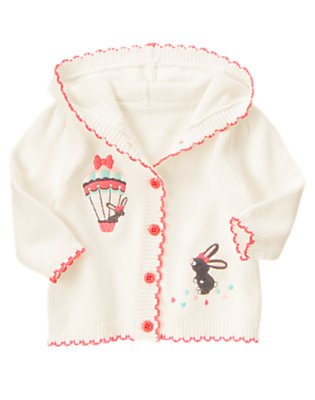 Baby Jet Ivory Balloon Bunny Hooded Sweater Cardigan by Gymboree