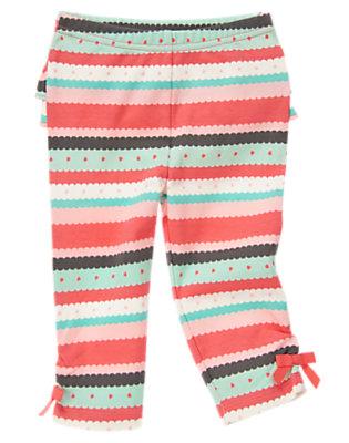 Mint Green Stripe Scallop Stripe Bow Legging by Gymboree