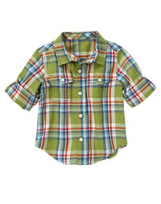 Moss Green Plaid Plaid Shirt by Gymboree