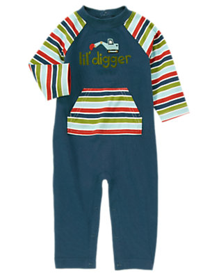 Construction Blue Lil' Digger Stripe One-Piece by Gymboree