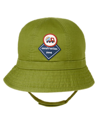 Moss Green Construction Zone Corduroy Hat by Gymboree