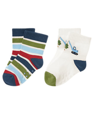 Baby White Truck Stripe Sock Two-Pack by Gymboree