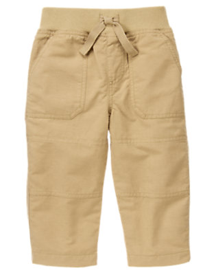 Toddler Boys Khaki Jersey Lined Active Pant by Gymboree