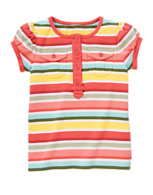 Coral Pink Stripe Stripe Cargo Pocket Tee by Gymboree