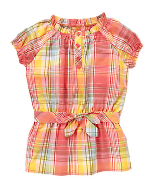 Girls Coral Pink Plaid Belted Plaid Top by Gymboree