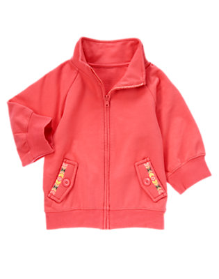 Girls Coral Pink Embroidered Pocket Fleece Cardigan by Gymboree