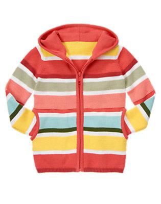 Girls Coral Pink Stripe Stripe Sweater Hoodie by Gymboree