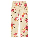 Flower Cargo Button Roll Cuff Pant