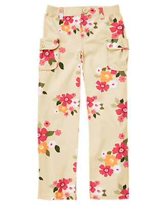 Girls Khaki Floral Flower Cargo Button Roll Cuff Pant by Gymboree