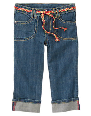 Girls Denim Belted Cuffed Jean by Gymboree