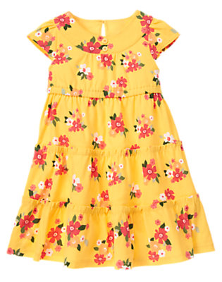 Girls Dandelion Yellow Floral Button Floral Tiered Dress by Gymboree