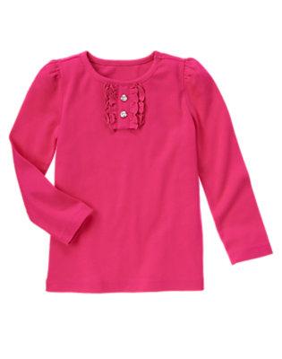 Girls Fuchsia Pink Gem Button Long Sleeve Tee by Gymboree
