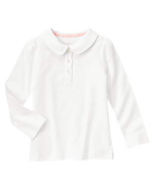 White Uniform Long Sleeve Polo Shirt by Gymboree