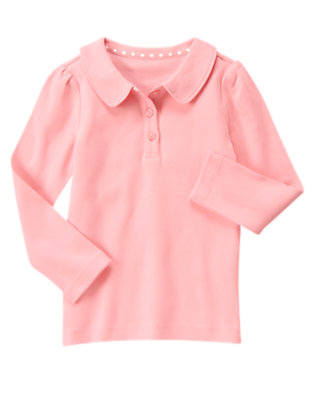 Girls Candy Pink Uniform Long Sleeve Polo Shirt by Gymboree