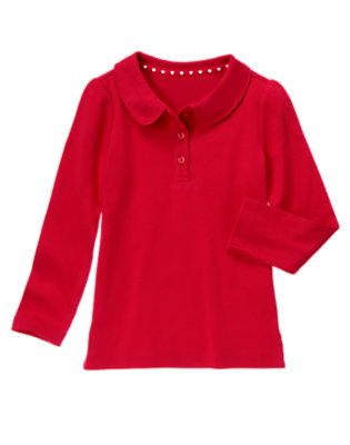 Girls Schoolhouse Red Uniform Long Sleeve Polo Shirt by Gymboree