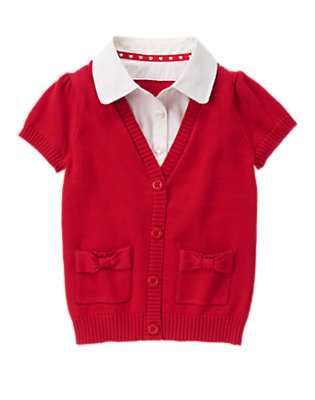 Girls Schoolhouse Red Uniform Inset Shirt Sweater by Gymboree